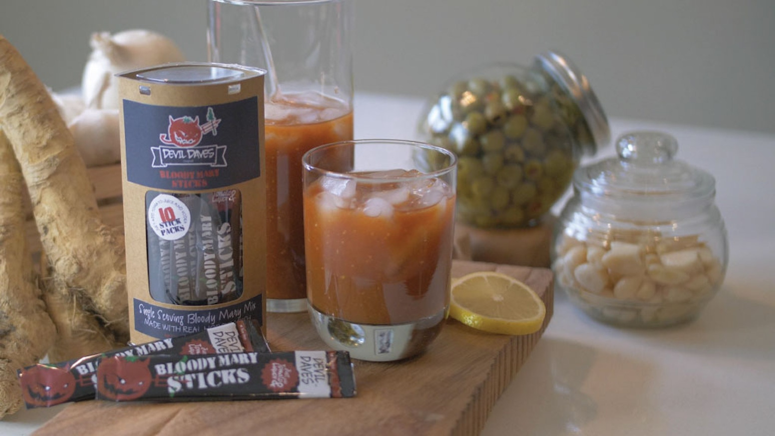 Devil Dave's is a single serving stick pack with real grated horseradish that makes an Instant Bloody Mary when added to tomato juice. Our pre-sale is still going on. Even if you missed our Kickstarter - You can join in by clicking the link below!