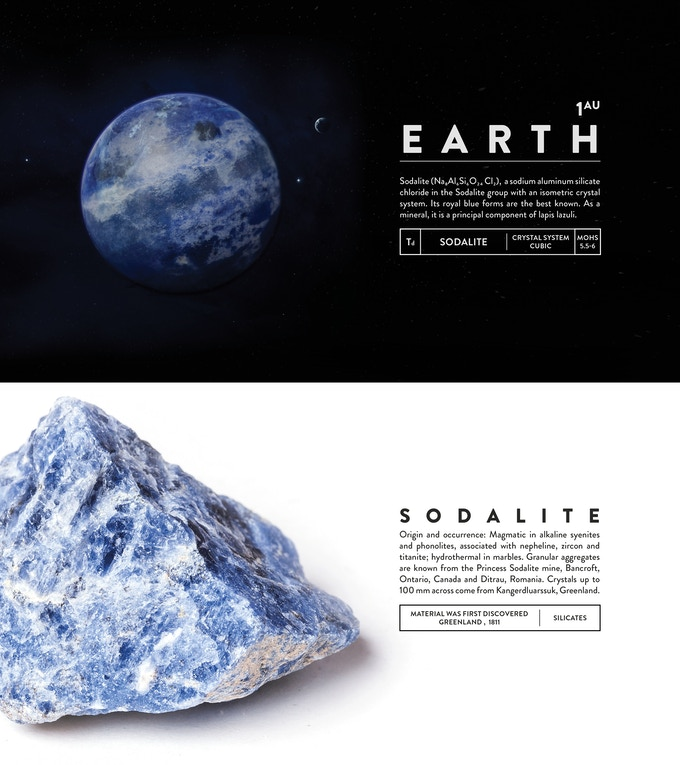 Sodalite (Na₈Al₆Si₆O₂₄ Cl₂), a sodium aluminum silicate chloride in the Sodalite group with an isometric crystal system. Its royal blue forms are the best known. As a mineral, it is a principal component of lapis lazuli.