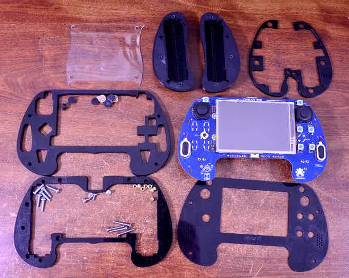 Kit contents (3D printed grips shown)