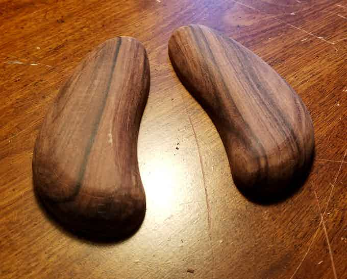 Wooden grips after just 30 minutes of sanding