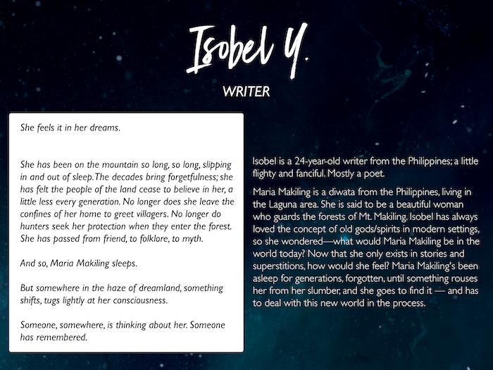 Isobel Y.: https://angelitawrites.tumblr.com/
