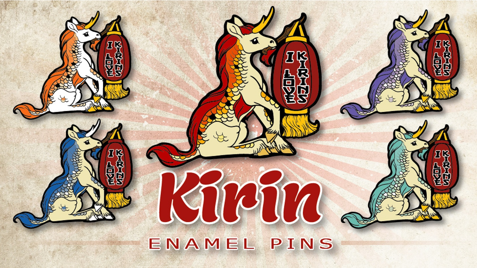 I Love Kirins Asian Unicorn hard enamel pins by Nina Bolen + original fantasy art