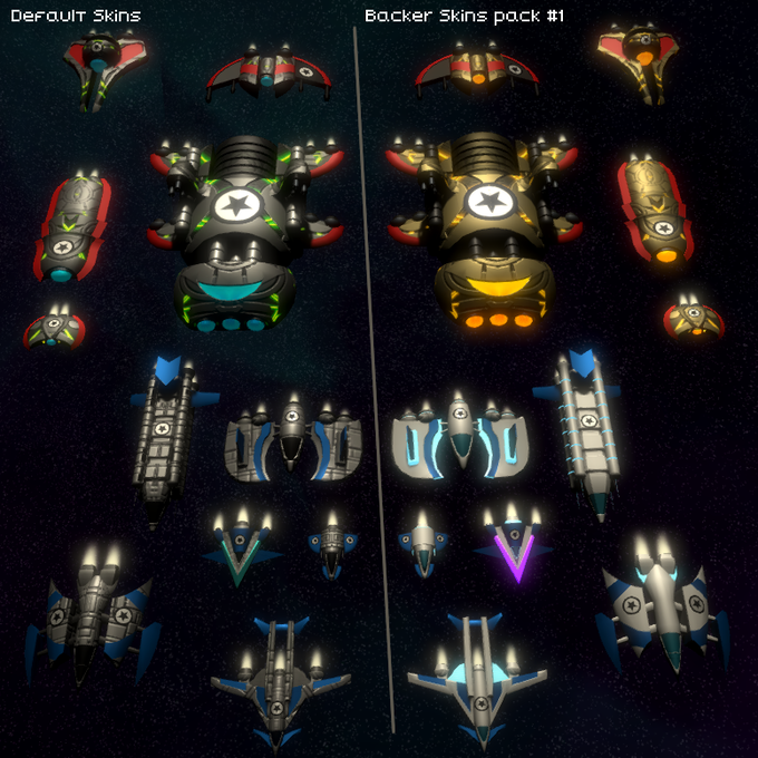 Ship skin options for those who choose beta tester reward or above