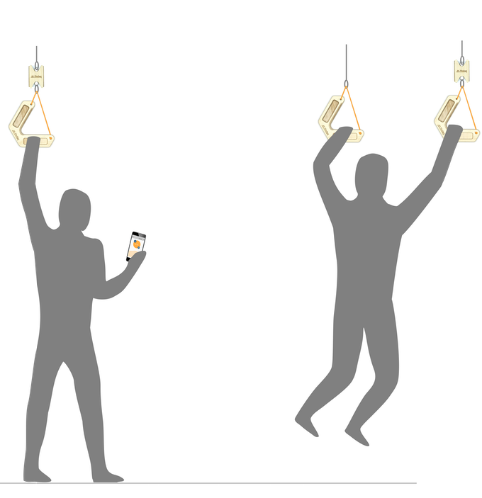 To the left: The progressor when used for peak force, endurance or rate of force development. To the right: Progressor used for measuring the load from the supporting arm when training for a one-arm pull up.