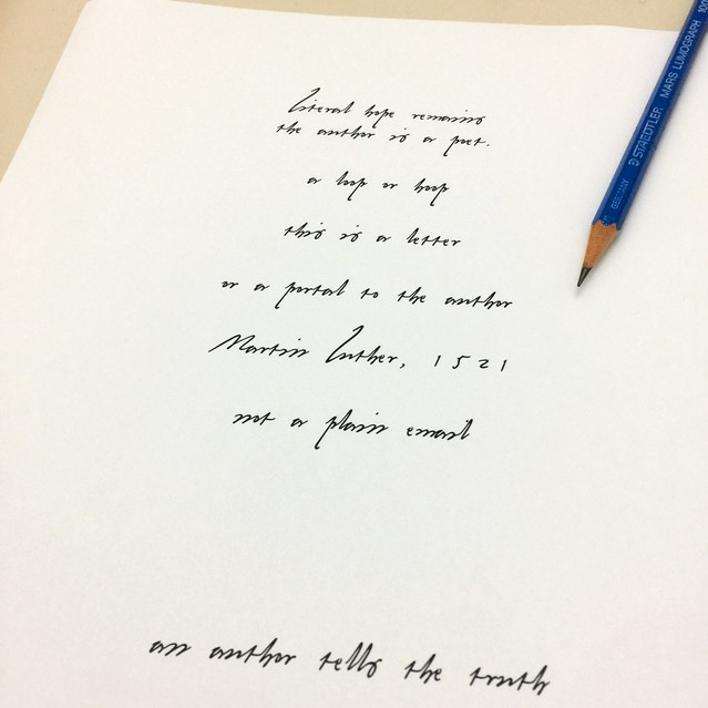 Printed sample using the Prototype of Martin Luther handwriting font.
