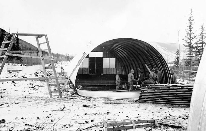 Winter of 1942 - 43 / building a Nissen hut along Alcan Highway in British Columbia, Canada