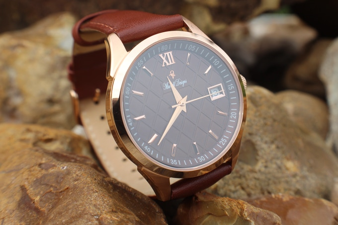 Chocolate Coded MD-P5871/36mm Rose Gold Case/Brown Italian Leather Strap