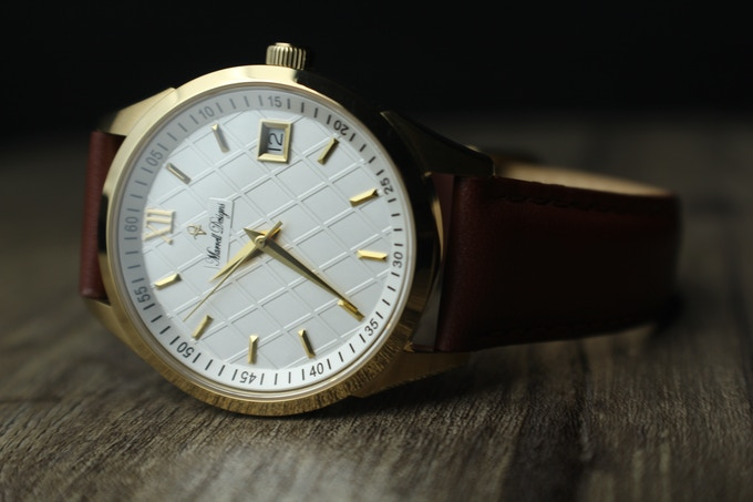 Gold MD-P5871/Classic Retro Styling/Brown Leather Strap