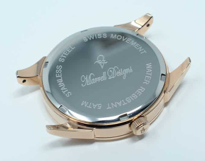 Custom Company Engraved Displayed On Every Timepiece