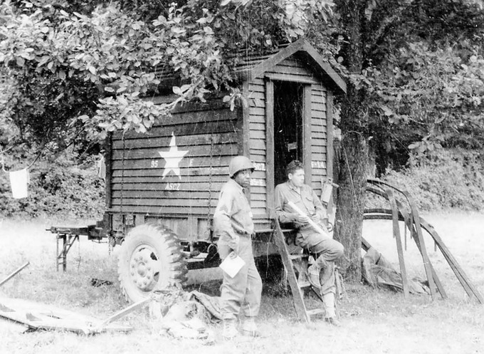 August 1944 Typical Apple Orchard Bivouac / Co. F near Alencon, France, motor pool dispatch