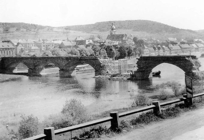 April 1945 German bridge over Main River under repair