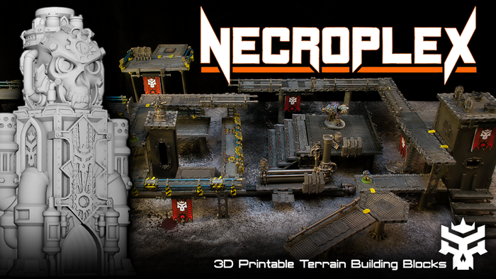 Necroplex is a series of 3D printable models designed to build modular walkways and cityscapes for use in tabletop miniature games.