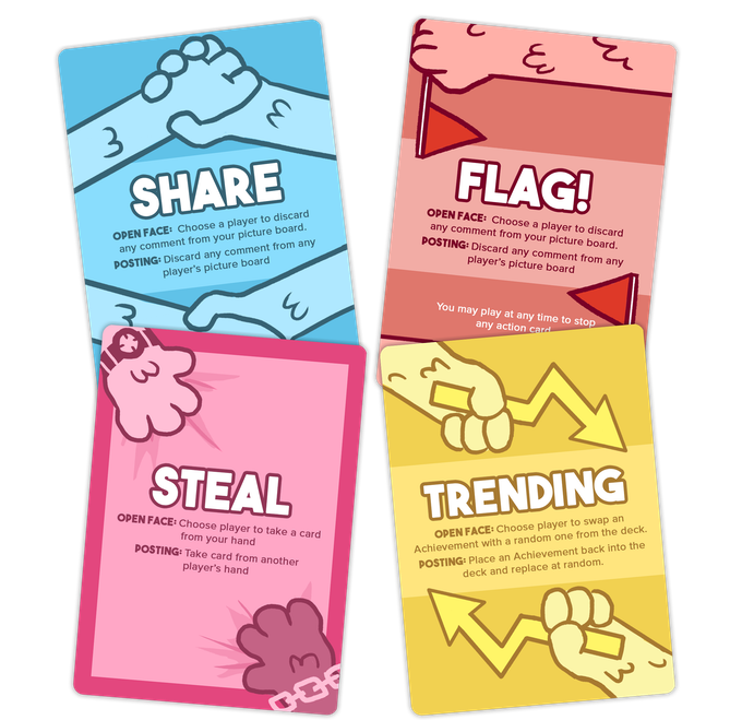 Action Cards - Share, Flag!, Steal, Trending