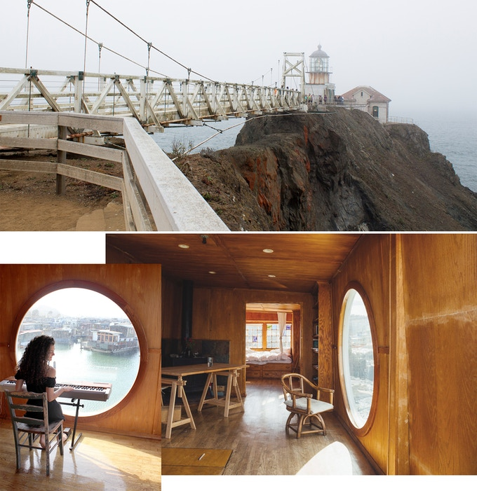 Faro Point Bonita  y el estudio de Varda Artists Residency. Inferior derecha: foto de Erea Azurmendi