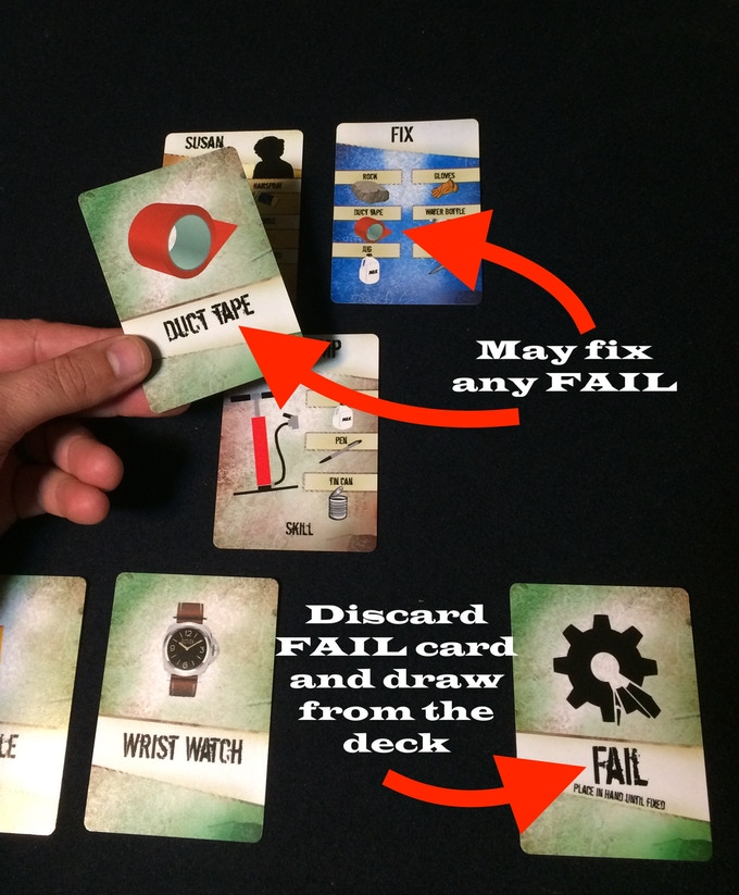 If you cannot trade, you may discard an item and then draw from the deck.  Be careful you may get a FAIL card that takes one space in your inventory and must be fixed.  To fix the FAIL you or another player must have an item from their fix card.