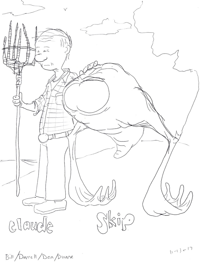 Angus Hort and his best alien pal, Skip (concept sketch)