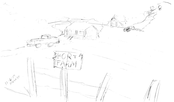 Hort Farm...the abandoned land where Angus's equally abandoned home sits. Empty since the day his wife died.