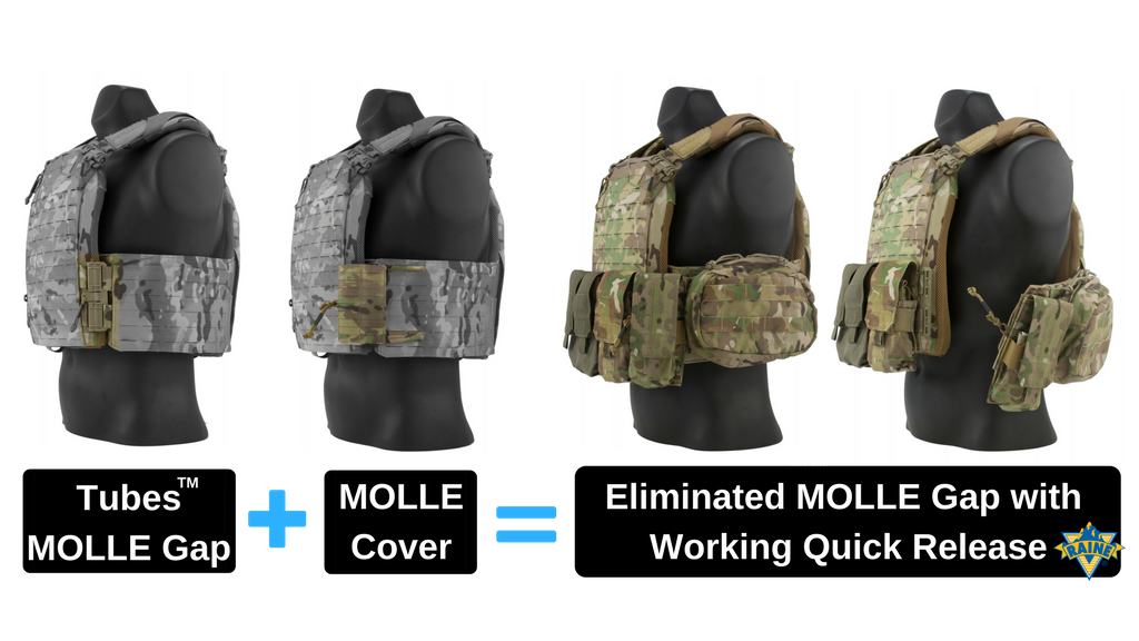 The Raine MOLLE Cover gives you back the MOLLE real-estate lost from using FirstSpear® Tubes™ quick release hardware on a plate carrier