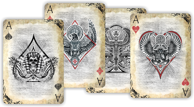EDITION ACES OF EGYPT \ BLACK BOX WITH GOLD FOIL TRIM, INTERIOR BACKGROUND WITH HIEROGLYPHS AND SAND-COLORED CARDS