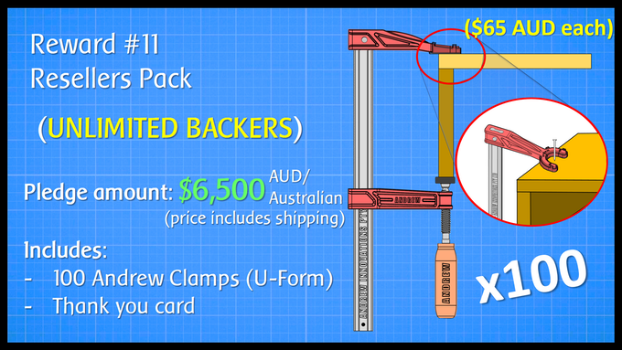 Resellers Pack - 100 Andrew Clamps