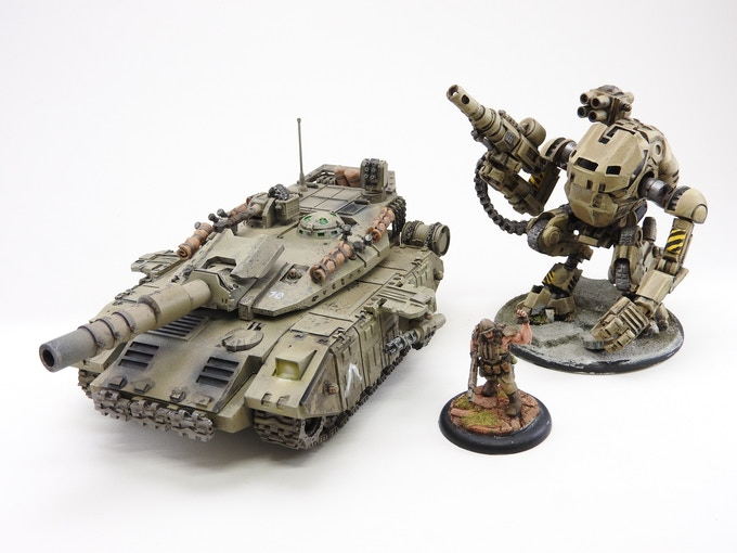 28mm Bulldog Tank next to other Black Earth miniatures
