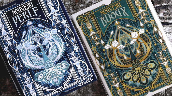 Custom poker size playing cards inspired by Art nouveau jewelry, depicting the original heroes & heroines from the 16th c. French decks