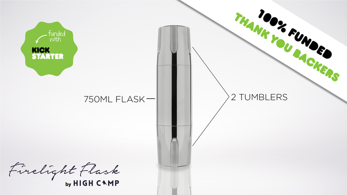 A vacuum insulated 750ml flask with two double-wall tumblers attached - designed to share and cheers with friends.