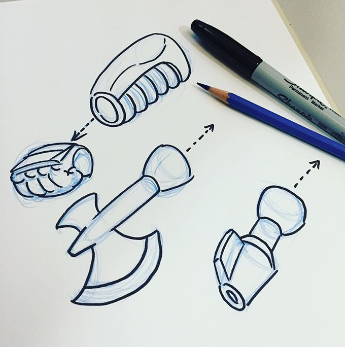 Concept sketch of the fist swap-out weapons.