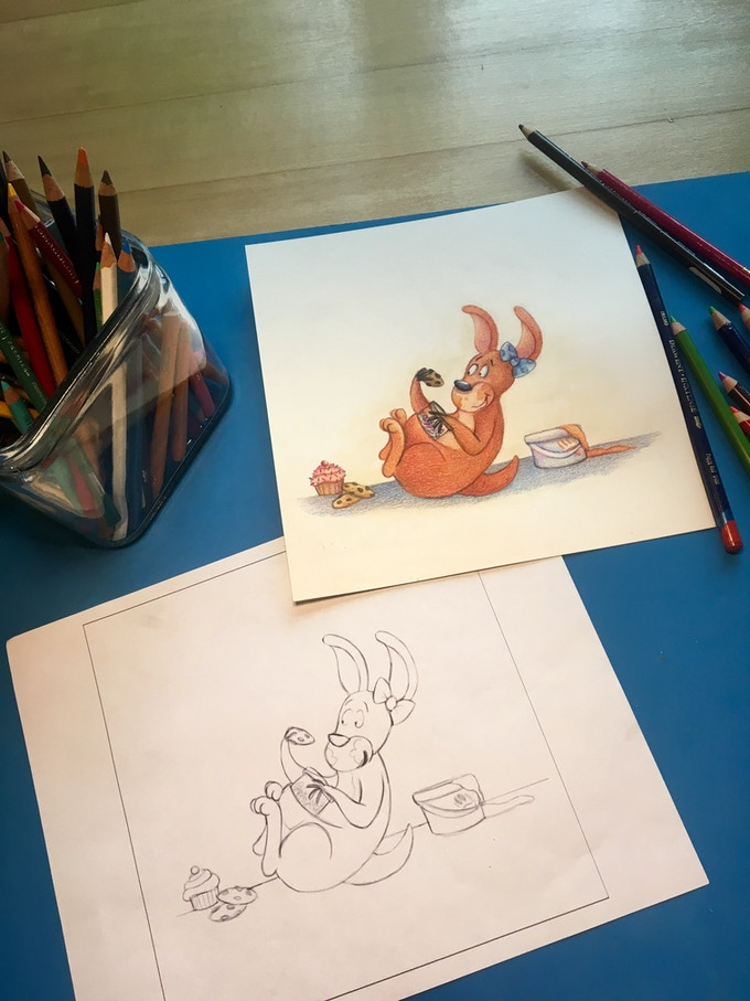 My talented illustrator, Rebecca Sinclair, working hard on the book cover.