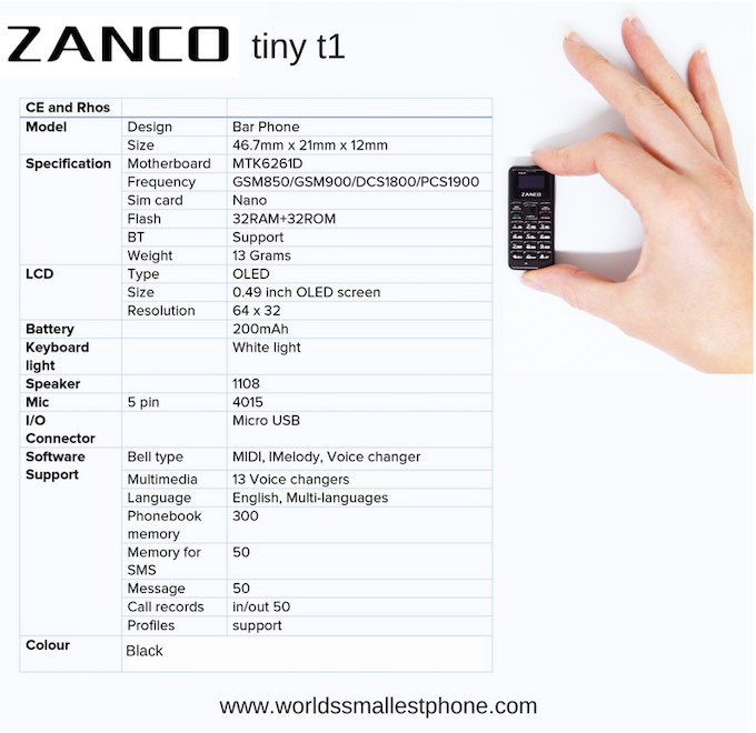 Zanco tiny t1 Technical Specifications