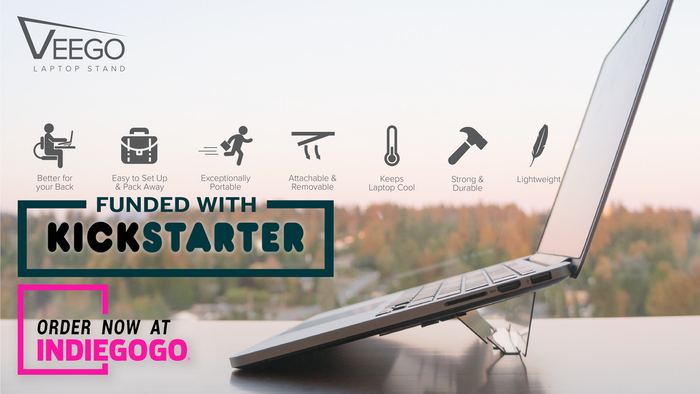 "Attaches to your laptop so you'll never forget it! The Veego Stand is thin, light, folds completely flat, and reduces soreness from ""laptop hunch"". Now available!"