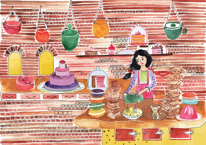 Catalina happily baking (page from the book)