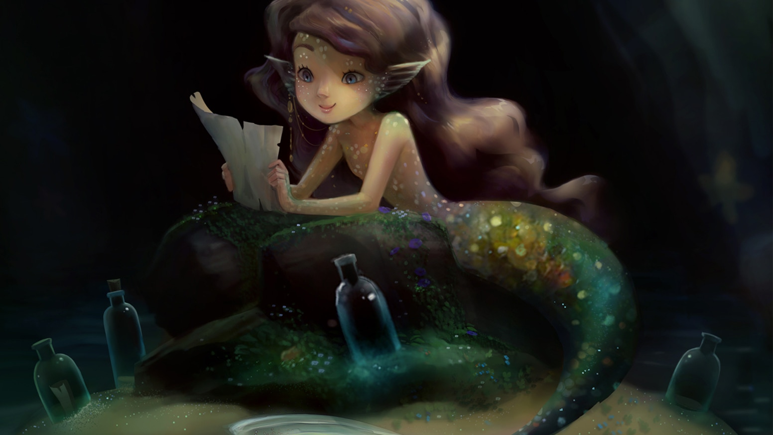 Explore the secrets of magic & fantasy in the underwater realm below. Illustrated art book by Marisa Erven and Heather Gross.