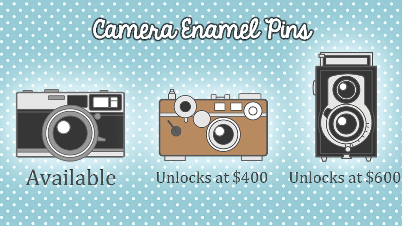3cm hard enamel lapel pins featuring vintage cameras