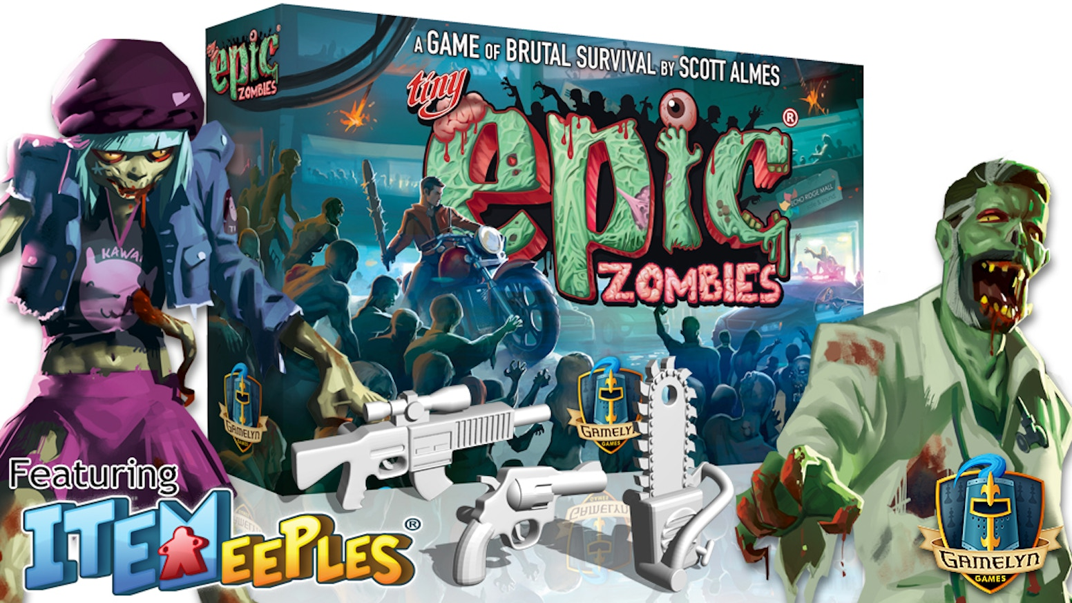 Play as hopeful survivors, or the Zombies, in this 1-5 player game featuring competitive and cooperative modes, and.. more ITEMeeples®!