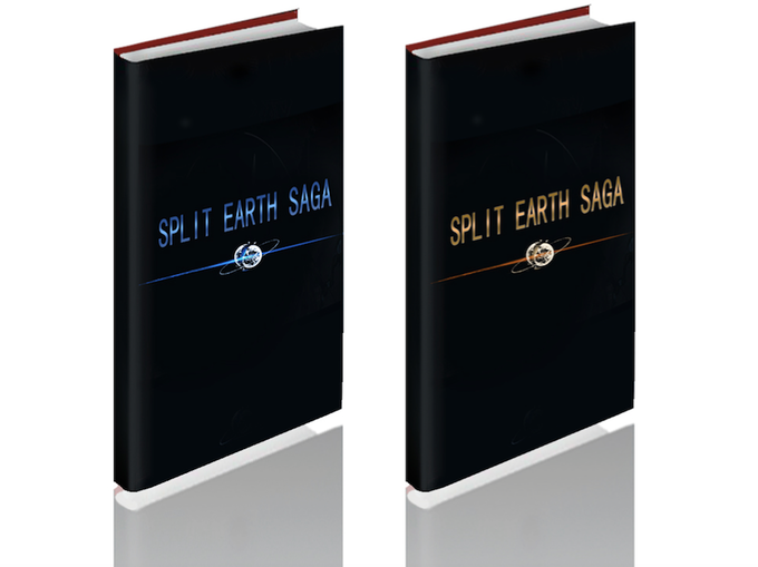 Deluxe hardcover set. We will produce the graphic novel and world-setting artbook with their original cover images printed on solid hard covers, wrapped in gloss black dust jackets. A classy gift set for collectors.