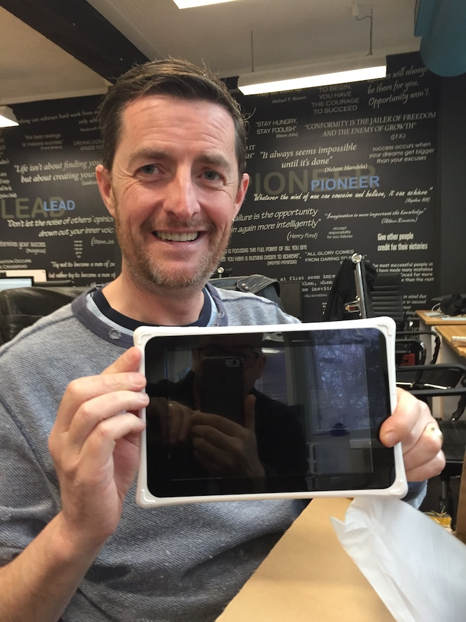 Adrian with the final sample of our tablet - Very Excited!