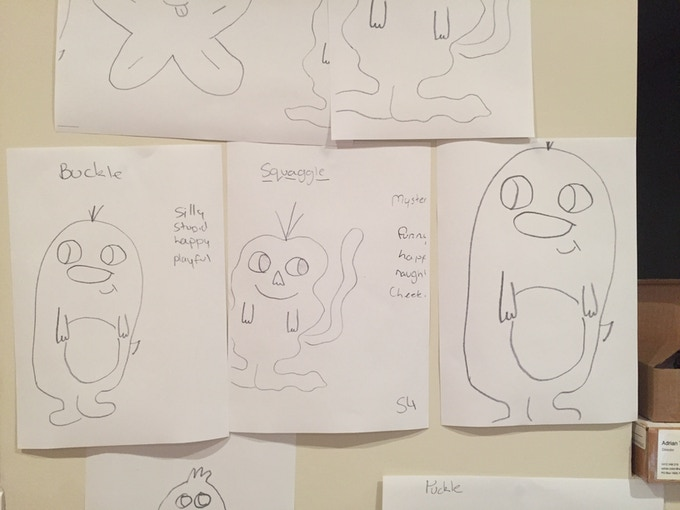 Some of the original drawings by Katy, Ashy & Declan - the Buckle & Squaggle