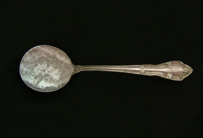 "Tempest  2011, tarnished silverpoint on found spoon, 1.5 x 5.5 x 1"", Mike Watson collection, Miami"