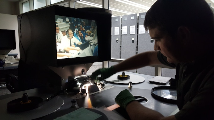Director Paul Hildebrandt researching film at the National Archives