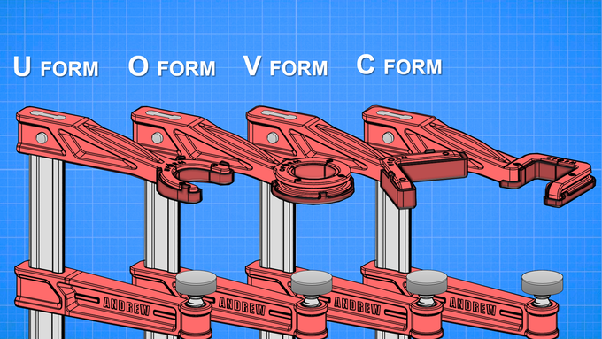 Upcoming Andrew Clamp variations. Only the U-Form variation is ready for mass production as of now. Other forms will be developed and released in the coming years.