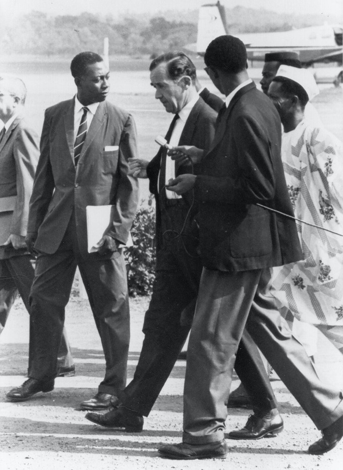William Gordon with Edward R. Murrow on assignment in Nigeria while employed with the United States Information Agency (USIA).