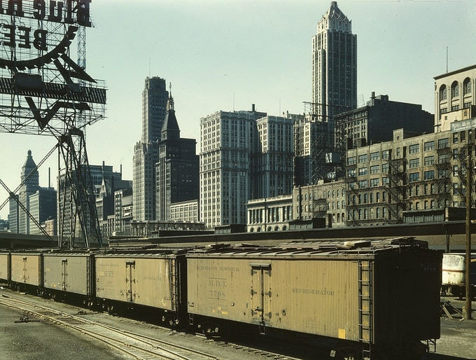 South Water Street Illinois Central Railroad freight terminal, Chicago, Illinois / By Jack Delano / 1943
