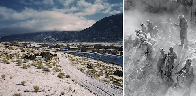 Left: Questa, New Mexico / John Collier /1943 — Right: Drillers at Fort Loudoun Dam, Tennessee / Jack Delano / 1942