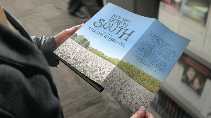 "Mock-up of New Man Down South, a leather-bound hardcover book uniquely designed to be a beautiful ""autobiographical archive."""