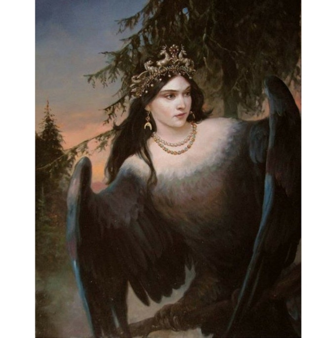 The Sirin, a mythical creature from Russian legends. Her song can drive people mad or inspire them to greatness. She provides the inciting incident that starts book 1 of the series.