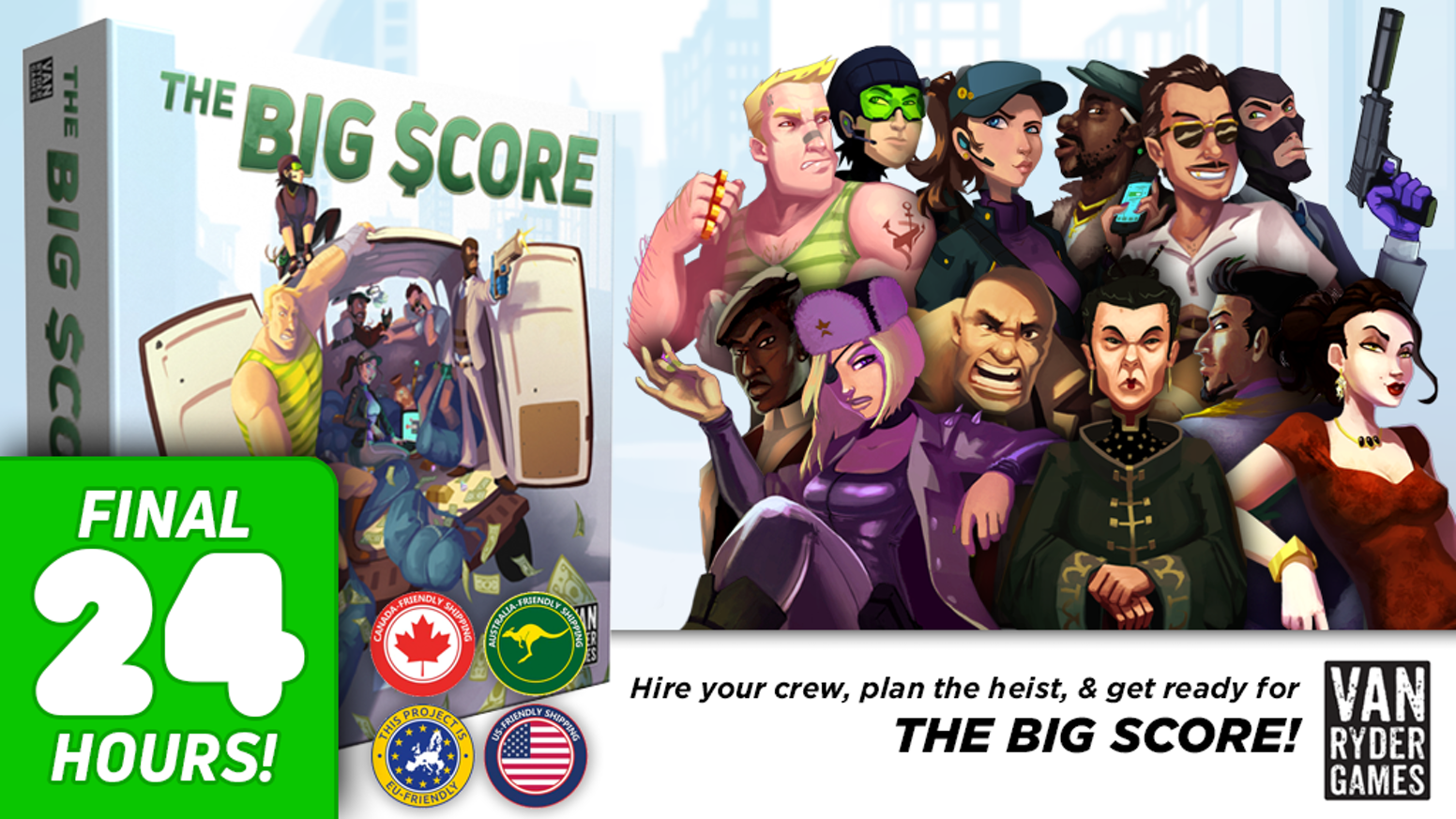 The Big Score is a competitive heist game for 1-6 players that features card drafting and press-your-luck game play!