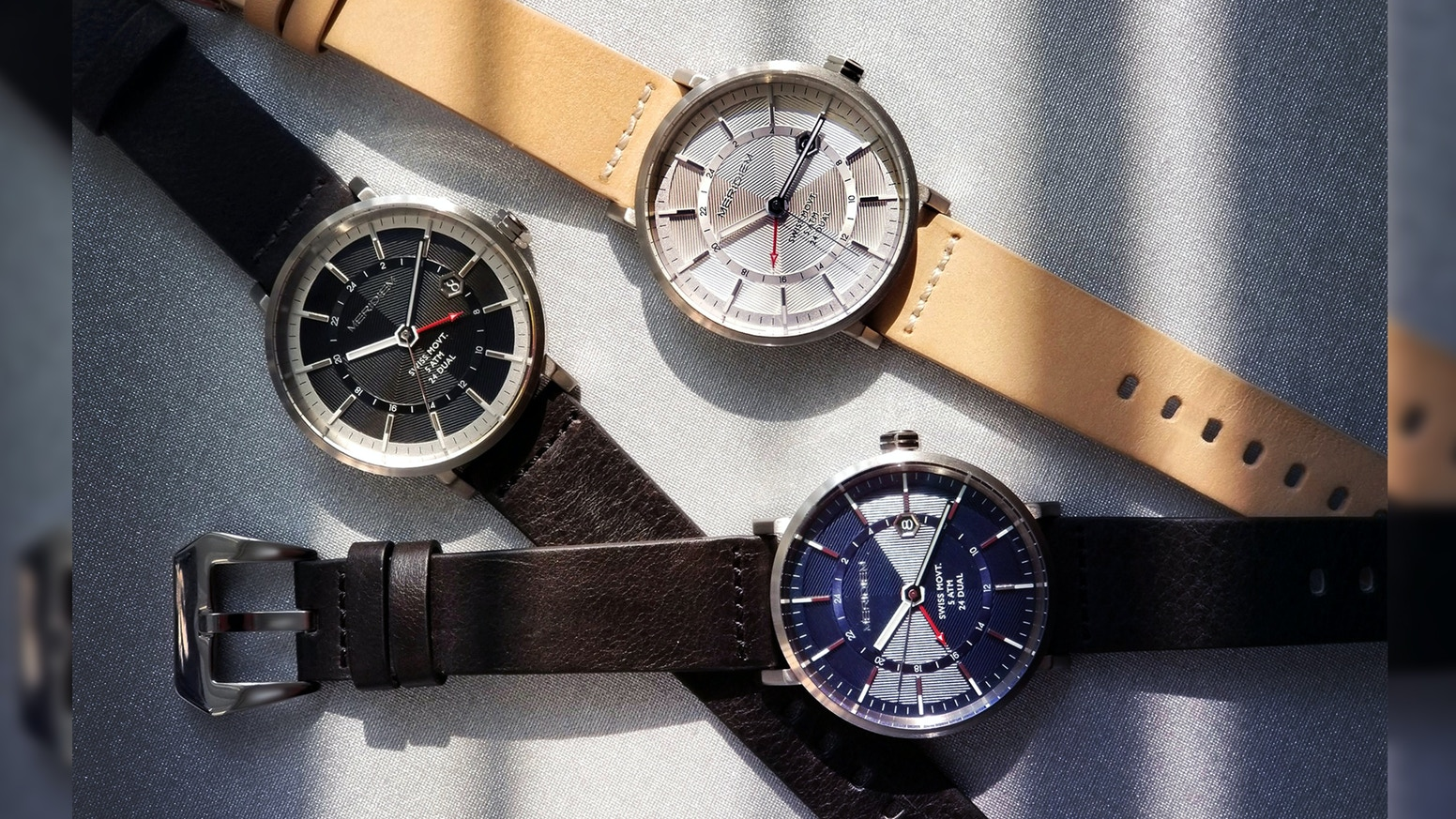 MERIDIEM WATCHES : GMT01  Utility 24-Dual Time Traveller watches with SWISS movement.
