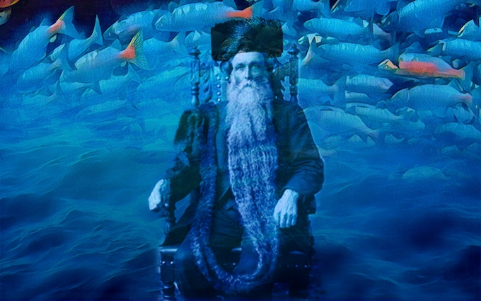 Concept Illustration of The Rebbe of Kolnitz, digital collage by Emily Cheeger