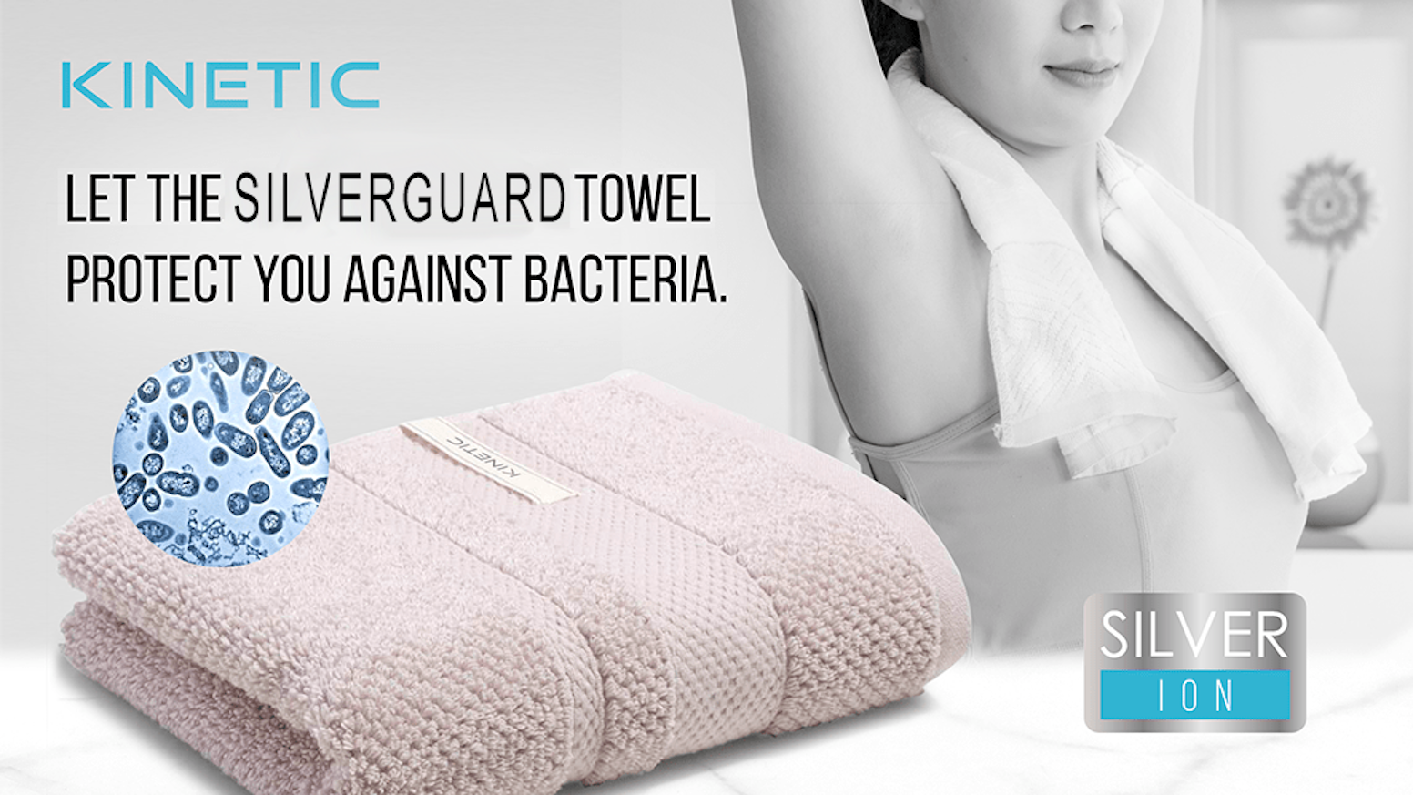 The SilverGuard Gym Towel is made from 100% USA cotton, embedded with silver. The towel is ultra absorbent, but without the stink!